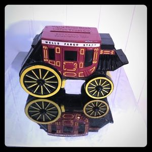 Cast Iron Metal Vintage Coin Stage Coach Bank